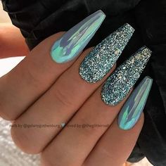 Blue Chrome Nails, Chrome Nail Polish, Metallic Nails, Blue Nails, Acrylic Nails, Coffin Nails, Glitter Nails, Nail Swag, Popular Nail Designs