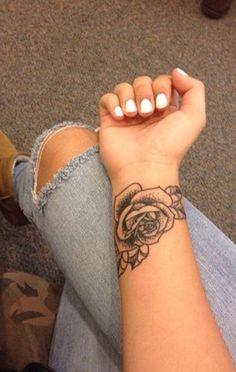 Small Black Rose Wrist Arm Tattoo - MyBodiArt.com