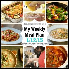 My Weight Watchers Weekly Meal Plan Menu
