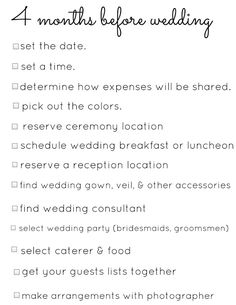 Wedding Planning Checklists, this link has a list from 4 months to the day of the wedding, though some is superfluous/irrelevant for you...