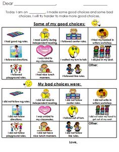 Aloha Kindergarten!: Behavior Plan.  good choices/bad choices handout to aid in discussion with a student if he/she has a bad day.