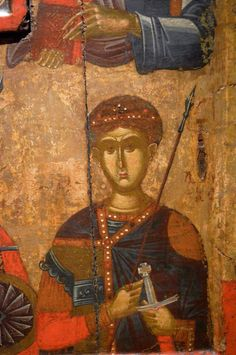 Religious Icons, Sacred Art, Byzantine, Saints, Sf, Painting, Fresco, Soldiers, Painting Art