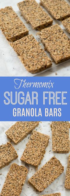 Really easy Thermomix Sugar Free Granola Bars made with seven ingredients – oats, desiccated coconut, sunflower seeds, chia seeds, coconut. No Bake Granola Bars, Healthy Granola Bars, Vegan Protein Bars, Muesli Bars, High Protein, Sugar Free Sweets, Gluten Free Sweets, Malt Recipe, Sugar Free Granola
