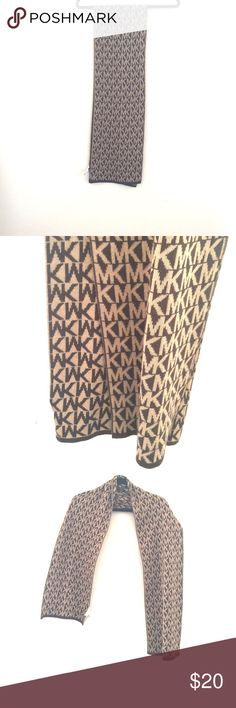 Michael Kors logo knit scarf Great used condition like new MK scarf in Tan/Brown KORS Michael Kors Accessories Scarves & Wraps