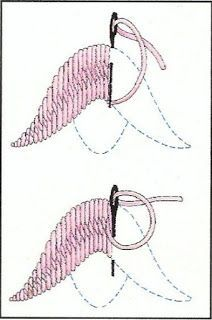Feathering long stitches