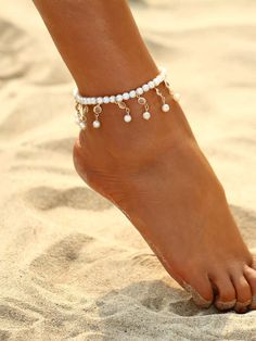 Faux Pearl & Crystal Decorated Beaded Anklet. So freaking cute #pearl #fauxpearl #anklet #jewelry #accessories #affiliate