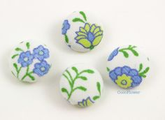 bouton couture, feuillage, tissu ancien, bouton tissu, X4, 19mm : Boutons par cocoflower