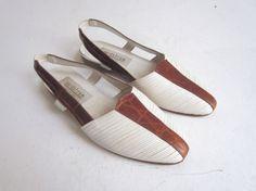 italian sandals / white leather slingback by CUPIDANDPSYCHELTD