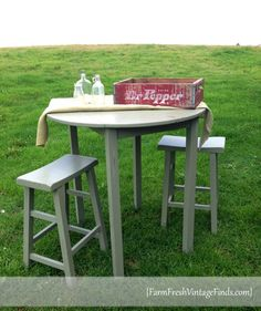 Painted Pub Table And Saddle Stools   Farm Fresh Vintage Finds