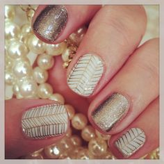 """""""Creme de la creme"""" and """"pewter"""" Jamberry nail wraps Love Nails, How To Do Nails, Pretty Nails, Fun Nails, Uñas Jamberry, Jamberry Nail Wraps, Creative Nails, Manicure And Pedicure, Nails Inspiration"""