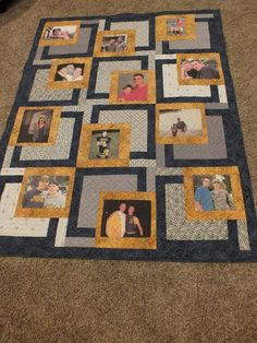 Have you ever made a photo quilt? What a heartwarming and fun idea. This might also make a good T-shirt quilt! Quilting Projects, Quilting Designs, Sewing Projects, Quilting Ideas, Quilt Block Patterns, Quilt Blocks, Foto Quilts, Foto Memory, Photo Souvenir