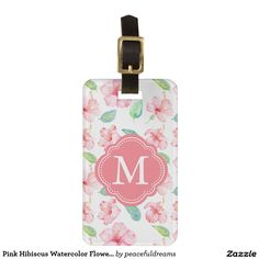 Pink Hibiscus Watercolor Flowers Monogram Luggage Tag