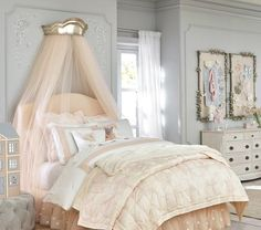 Shop Pottery Barn Kids' Monique Lhuillier Sophia Kids Bedroom for girls room ideas. Find kids bedroom ideas and inspiration at Pottery Barn Kids. Bedroom Ideas For Teen Girls, Teen Girl Bedrooms, Little Girl Rooms, Princess Bedrooms, Princess Canopy Bed, Boy Rooms, Tween Girls, Pottery Barn Kids, Headboards For Beds