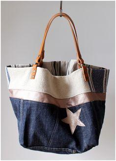 Cabas réversible en jeans et d'autres sacs, cabas réversibles et sac-pochettes à voir: www.musedeprovence.com