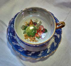 FREE SHIPPING--Vintage Lusterware China Tea Cup--Made in Japan--Hand painted--Periwinkle Blue/Purple by WoodsHarbourTeaRoom on Etsy