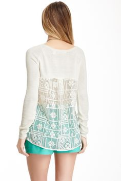 Lace Back Crew Neck Sweater