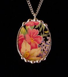 Broken china jewelry necklace pendant Royal Winton Florence chintz