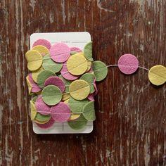 Garland of Felt Fanfare in yellow, fern & rose: Secret Garden Collection. $20.00, via Etsy.