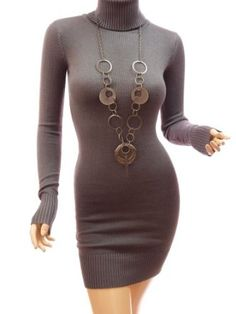 Patty Women Turtleneck Long Sleeve Knitwear Mini Jumper Dress $46.39 Necklace....