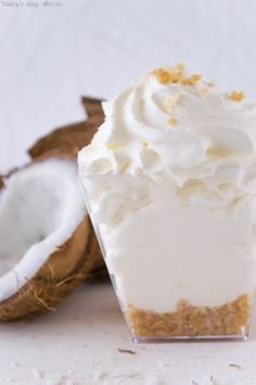 Coconut mousse --- I'm full up just READING the recipe! :0) Talk about FAT BOMB. Perfect for KETO if you DECARB: Use sweetener instead of sugar, use low carb cookie crumbs instead of digestive crumbs.
