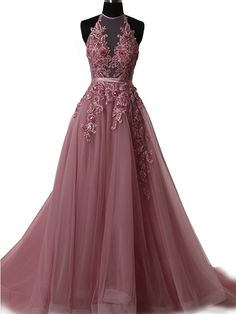 Formal Prom Dresses, 2018 Long Prom Dress Halter Brush Train Simple Lace Prom Dress/Evening Dress Whether you prefer short prom dresses, long prom gowns, or high-low dresses for prom, find your ideal prom dress for 2020 Halter Prom Dresses Long, Ball Gowns Prom, A Line Prom Dresses, Tulle Prom Dress, Cheap Prom Dresses, Sexy Dresses, Party Dresses, Dress Lace, Tulle Lace
