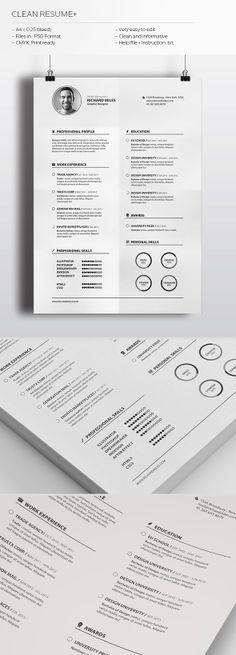 Clean Resume+ by Realstar , via Behance