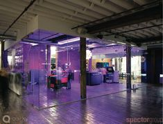 Quirky.com's New NYC Offices  Digging the black light effect when lights arent really wanted
