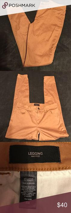 Tan Express Legging Perfect condition. Size 8 R Express legging. Nice dark khaki color. Stretch. Worn only once. Express Jeans Skinny