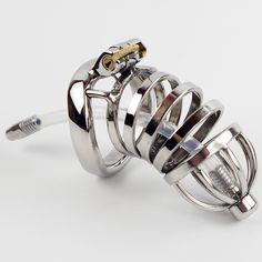 Nuovo dispositivo di castità Maschile in acciaio inox metallo pene blocco castità pene anello cintura di castità uomini