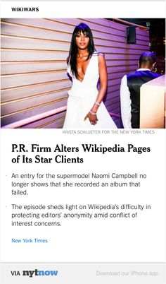 P.R. Firm Alters the Wikipedia Pages of Its Star Clients