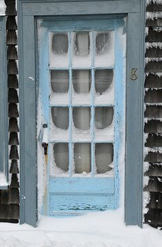 Rockport, MA: love everything about this photo! the blue door; the multi-paned windows, the snow; the New England setting!