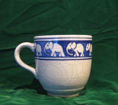 Dedham elephant coffee mug, rare
