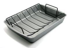 "OvenStuff Nonstick Large Roasting Pan with Rack, 17.2"" x 12.7"" x 2.7"""