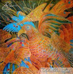 """Животные ручной работы. Ярмарка Мастеров - ручная работа Картина  на шёлке """"Птицы"""" ручная роспись. Handmade."""