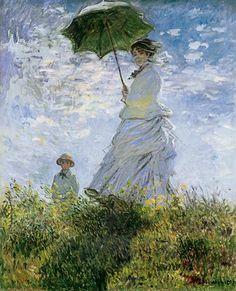 """""""Frau mit Sonnenschirm"""" (Madame Monet mit ihrem Sohn) (1875/78) von Claude Monet (geboren am 14. November 1840 in Paris, gestorben am 5. Dezember 1926 in Giverny), französischer Maler, der bis zur Mitte der 1860er-Jahre realistische Bilder malte, sich danach aber ganz dem Impressionismus zuwandte und dadurch weltberühmt wurde."""