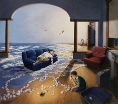 Artist Robert Gonsalves paints magical realism. In one fantastical scene, two or more stories emerge.