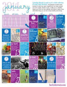 wellness calendar: january 2014 (free printable)