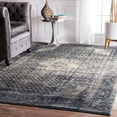 "Traditional Vintage Inspired Overdyed Fancy Blue Area Rugs, 5 Feet 3 Inches by 7 Feet 8 Inches (5' 3"" x 7' 8"")"