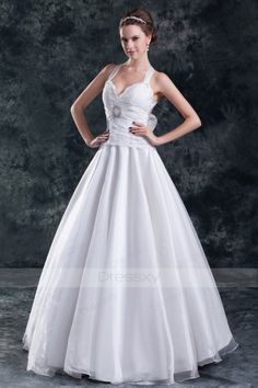 Ball Gown Floor-length Natural Sweetheart Organza Wedding Dresses