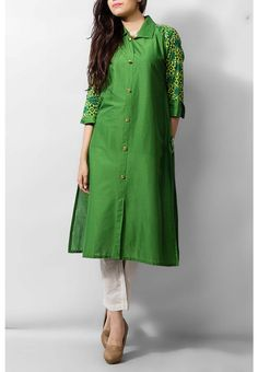 Green Cotton Ladies Kurti $39.99 KURTI Pakistani Indian Dresses Online, Men Women Clothing and Shoes | PakRobe.com