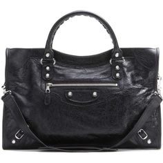 Balenciaga Giant 12 City Leather Tote ($1,630) ❤ liked on Polyvore featuring bags, handbags, tote bags, black, tote handbags, tote purses, genuine leather tote, leather purses and studded purse