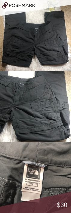 """North Face Convertible Utility Pants- sz 2 North Face convertible hiking pants. Size 2. Inseam 31"""". Waist is 13"""" across the top and rise is 7.5"""". Excellent condition. Zippers all work perfect. Bundle to save! :) North Face Pants"""
