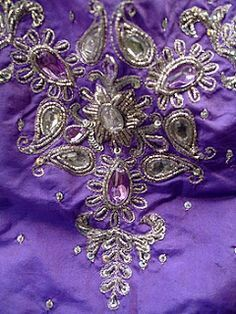 Indian cloth with Tri-Sigma spirit, Susan's Rose Cottage Purple Love, All Things Purple, Purple Lilac, Shades Of Purple, Deep Purple, Indian Embroidery, Beaded Embroidery, Zardozi Embroidery, Folk Embroidery