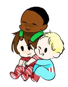 Baby Sam and baby Steve hugging baby Bucky