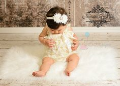 2pcs Ivory Romper, wedding flower girl, lace romper, Rompers, birthday outfit, Romper set, baptism outfit, baby romper, toddler outfit