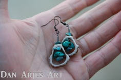Turquoise Drop Antler Earrings by TheAntlerArtisan on Etsy, $12.00