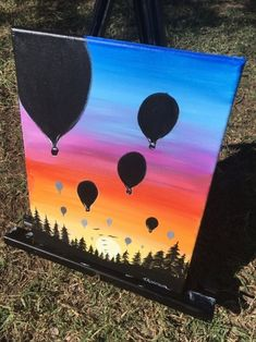 How To Paint A Sunset In Acrylics - Hot Air Balloon Silhouette gift Sunset Painting - Learn To Paint An Easy Sunset With Acrylics Sunset Painting Easy, Drawing Sunset, Abstract Canvas, Canvas Art, Balloon Painting, Oil Pastel Art, Silhouette Painting, Beginner Painting, Canvas Pictures