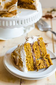 Pumpkin Cake with Ginger Chocolate and Meringue by cookienameddesire #Cake #Pumpkin #Ginger #Chocolate #Meringue