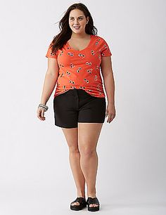 This ruched V-neck graphic tee wears its sunglasses at night (yeah, we went there). lanebryant.com