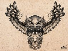 Owl - sugar skull Tattoo design for brest or chest by redtrujillo
